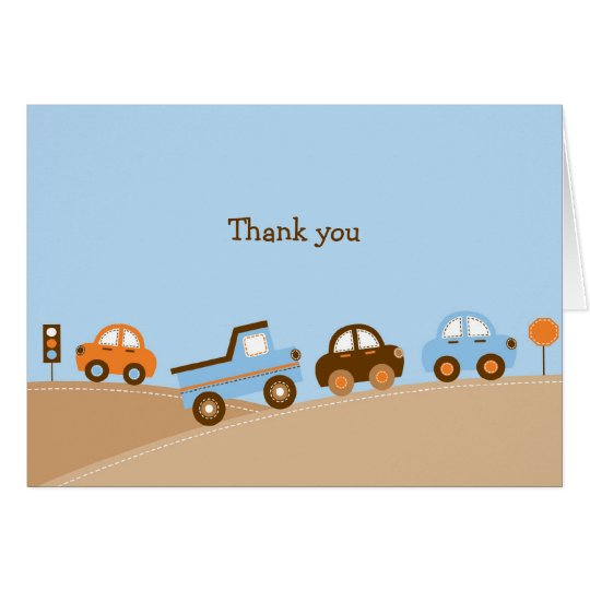 Boys Transportation Car Truck Thank You Note Cards