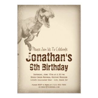 Boys TRex Dinosaur Birthday Party Invitations