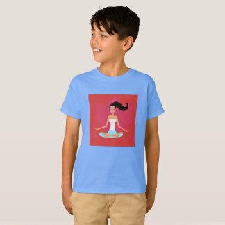 Boys tshirt with yoga girl / blue, red