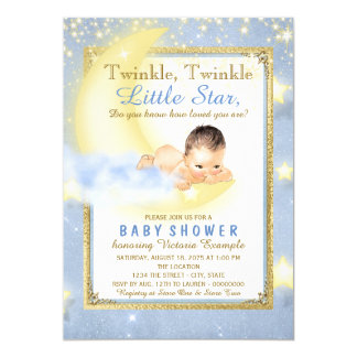 Boys Twinkle Twinkle Little Star Baby Shower 13 Cm X 18 Cm Invitation Card