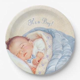 Boys Vintage Baby Shower Paper Plate