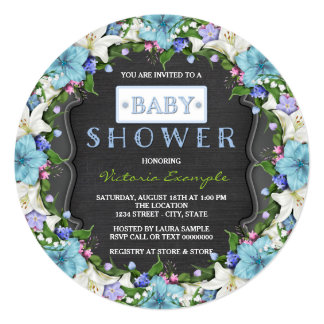 Boys Vintage Chalk Baby Shower 13 Cm X 13 Cm Square Invitation Card