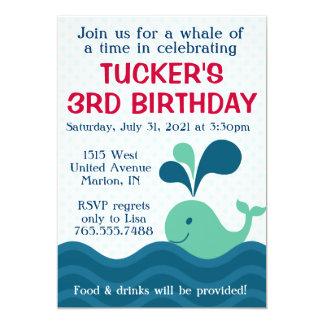 Boy's Whale Birthday Party Invitation