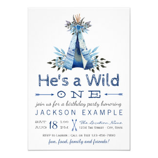 Boys Wild One Birthday Party First Birthday 13 Cm X 18 Cm Invitation Card