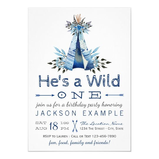 Boys Wild One Birthday Party First Invitation