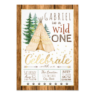 Boys Wild One Tribal TeePee First Birthday 11 Cm X 16 Cm Invitation Card