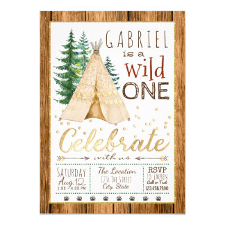 Boys Wild One Tribal TeePee First Birthday Card