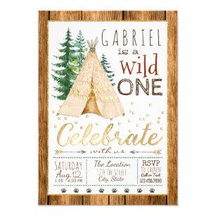 Boy birthday invitations zazzle boys wild one tribal teepee first birthday invitation filmwisefo
