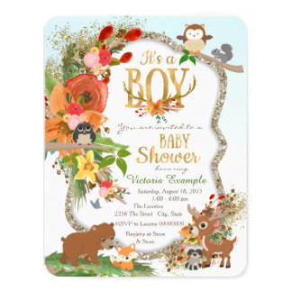 Boys Woodland Antler Baby Shower 11 Cm X 14 Cm Invitation Card