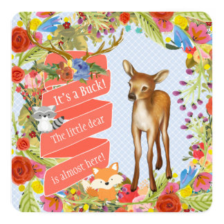 Boys Woodland Deer Baby Shower 13 Cm X 13 Cm Square Invitation Card
