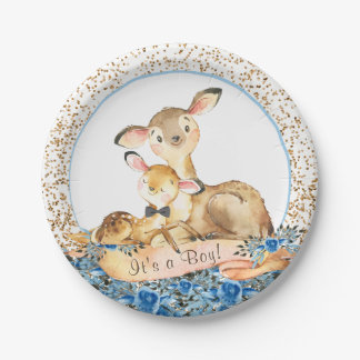 Boys Woodland Deer Baby Shower Paper Plates
