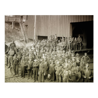 Boys working in the mines postcard