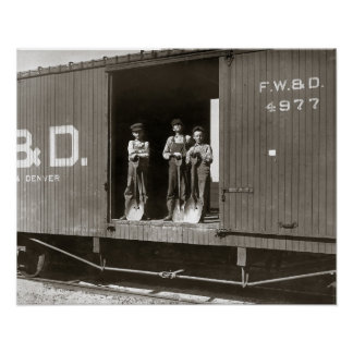 Boys Working on Railroad Car, 1910. Vintage Photo Poster