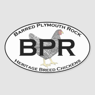 BPR - Barred Plymouth Rock Heritage Breed Chickens Oval Sticker