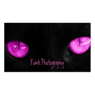 BPUR Black Cat Purple Eyes Business Card Template