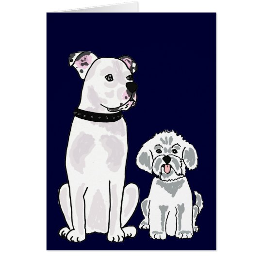 BR- Bichon Frise and American Bulldog Notecard