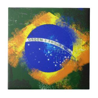 BR Brasil brazilian flag Small Square Tile