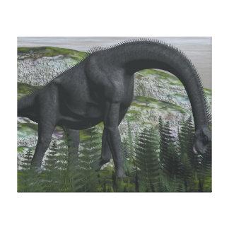 Brachiosaurus dinosaur eating fern - 3D render Canvas Print