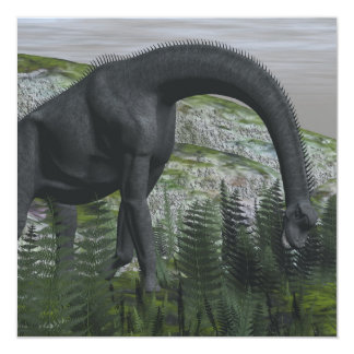 Brachiosaurus dinosaur eating fern - 3D render Card