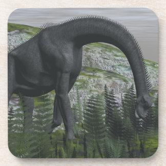Brachiosaurus dinosaur eating fern - 3D render Coaster