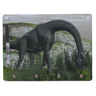 Brachiosaurus dinosaur eating fern - 3D render Dry Erase Board With Key Ring Holder