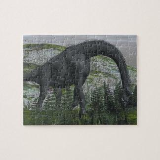 Brachiosaurus dinosaur eating fern - 3D render Jigsaw Puzzle