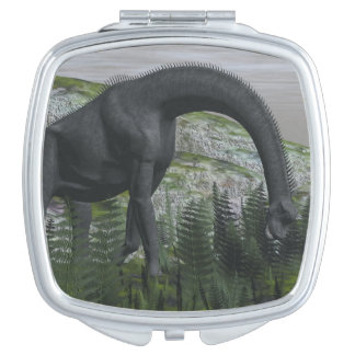 Brachiosaurus dinosaur eating fern - 3D render Makeup Mirrors