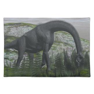 Brachiosaurus dinosaur eating fern - 3D render Place Mat