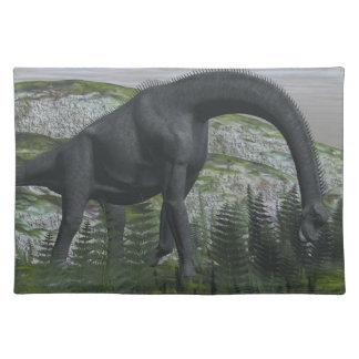 Brachiosaurus dinosaur eating fern - 3D render Place Mats