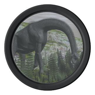 Brachiosaurus dinosaur eating fern - 3D render Poker Chips