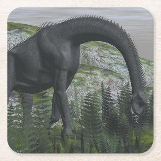 Brachiosaurus dinosaur eating fern - 3D render Square Paper Coaster