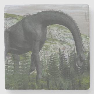 Brachiosaurus dinosaur eating fern - 3D render Stone Coaster