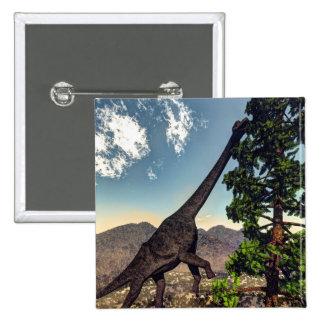 Brachiosaurus dinosaur eating wollomia pine 15 cm square badge