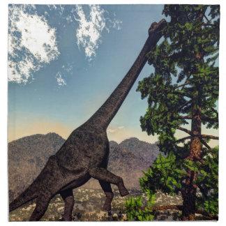 Brachiosaurus dinosaur eating wollomia pine napkin