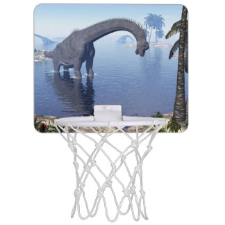 Brachiosaurus dinosaur in water - 3D render Mini Basketball Hoop