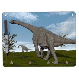 Brachiosaurus dinosaur walking - 3D render Dry Erase Board With Key Ring Holder