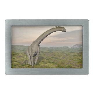 Brachiosaurus dinosaur walking - 3D render Rectangular Belt Buckles