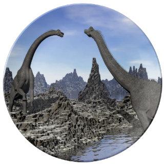Brachiosaurus dinosaurs - 3D render Plate