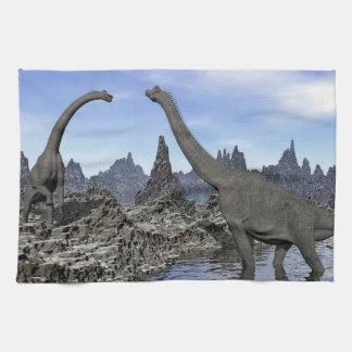 Brachiosaurus dinosaurs - 3D render Tea Towel
