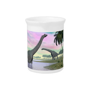 Brachiosaurus dinosaurs in nature - 3D render Pitcher