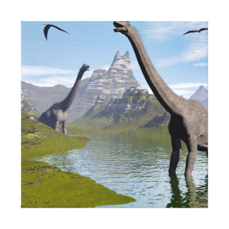 Brachiosaurus dinosaurs in water - 3D render Canvas Print