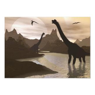Brachiosaurus dinosaurs in water - 3D render Card