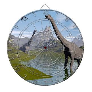Brachiosaurus dinosaurs in water - 3D render Dartboard