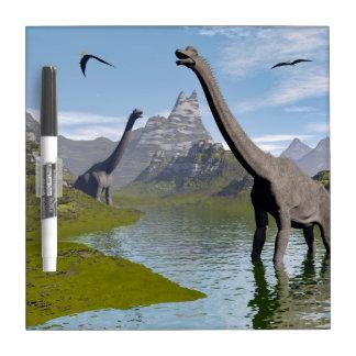 Brachiosaurus dinosaurs in water - 3D render Dry Erase Board