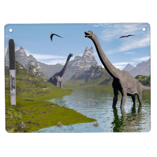 Brachiosaurus dinosaurs in water - 3D render Dry Erase Board With Key Ring Holder