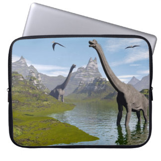 Brachiosaurus dinosaurs in water - 3D render Laptop Sleeve