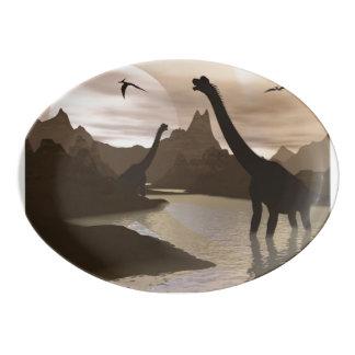 Brachiosaurus dinosaurs in water - 3D render Porcelain Serving Platter