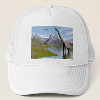 Brachiosaurus dinosaurs in water - 3D render Trucker Hat