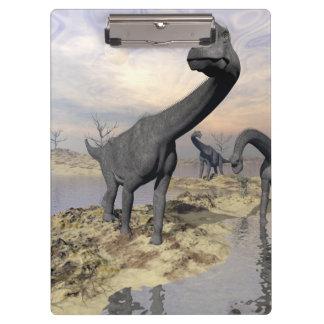 Brachiosaurus dinosaurs near water - 3D render Clipboard