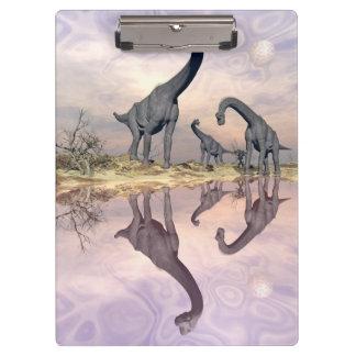 Brachiosaurus dinosaurs near water - 3D render Clipboards